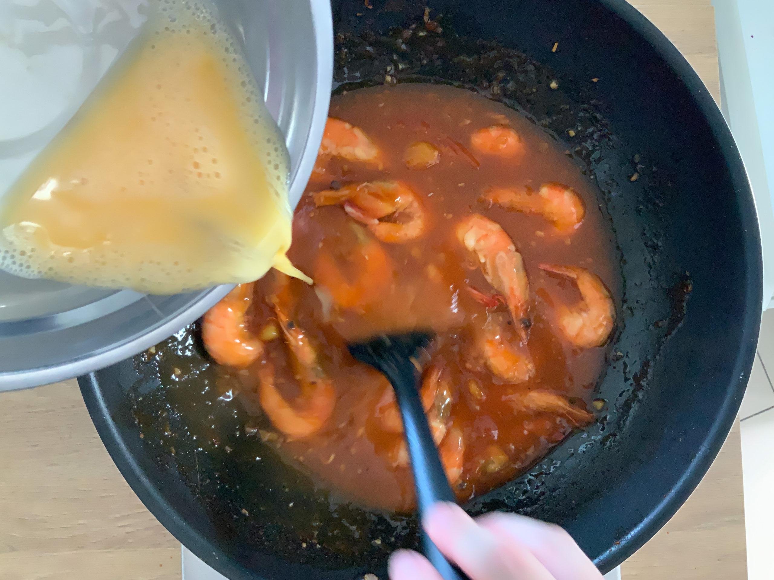Add in the beaten egg.