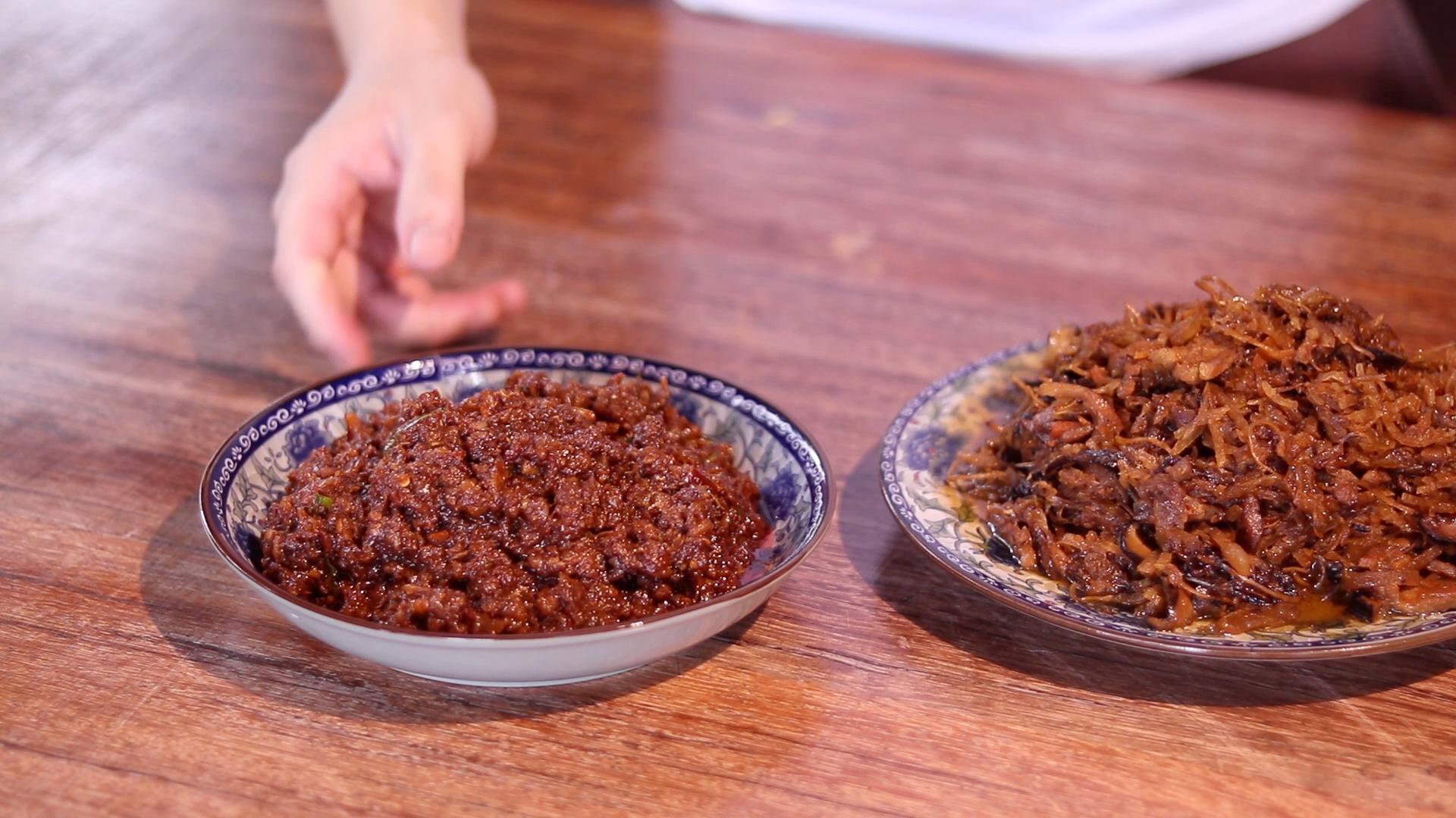 Jiu Hu Char and Sambal Hae Bee on Table